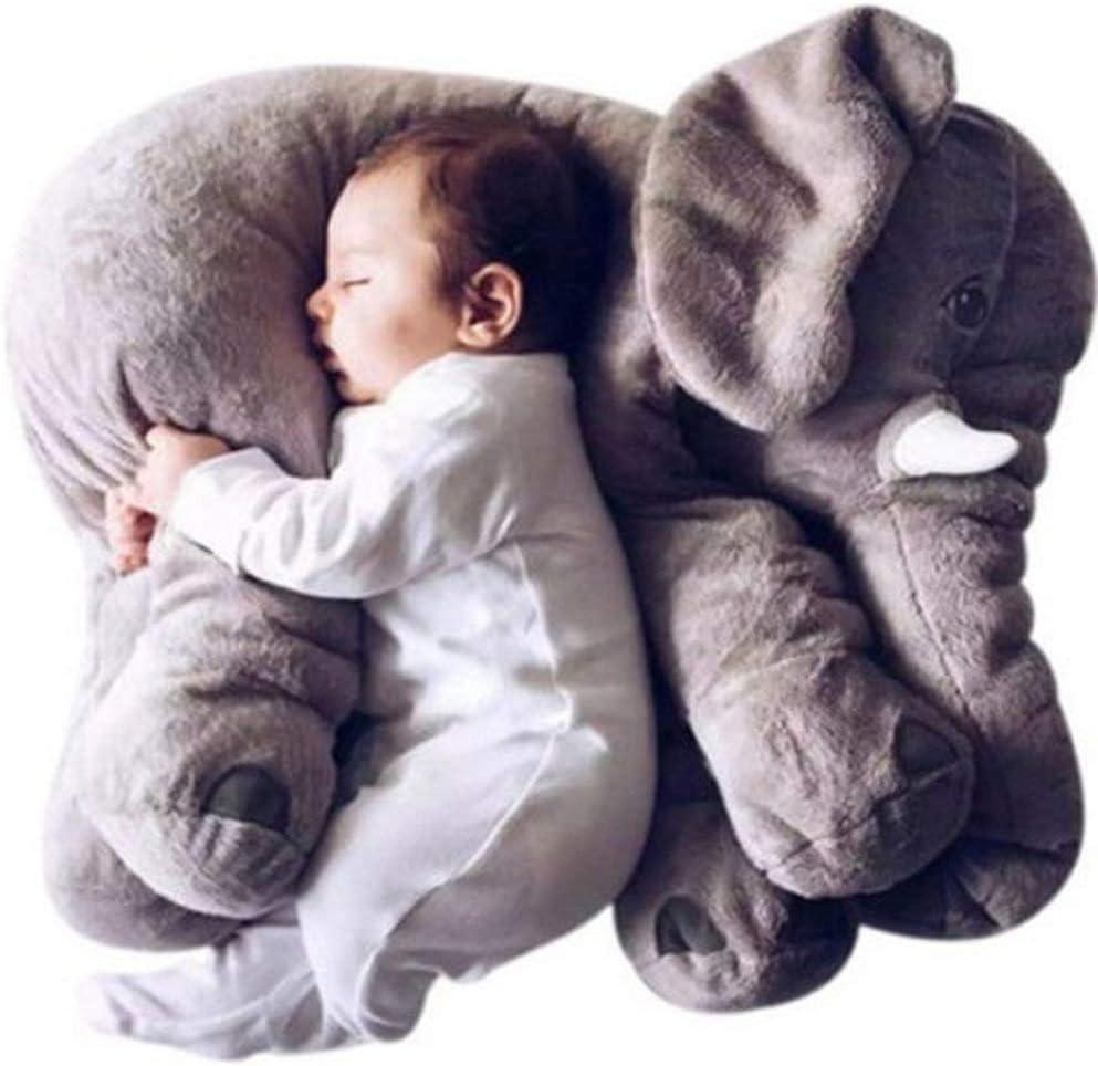 MJTP Bebé Suave Felpa Elefante Almohadas para Dormir Abrazando Almohada Lumbar rellena Encantador Peluche Animales Dormir Juguetes cumpleaños para niños