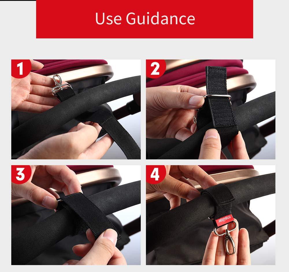 Accroche Sac Poussette Multi Usage /à Scratch pour Organisateur de Poussette Sac /à Main ou Sac de Courses APlus Lot de 2 Crochets de Fixation avec Fermeture Velcro Crochets pour Poussettes B/éb/é