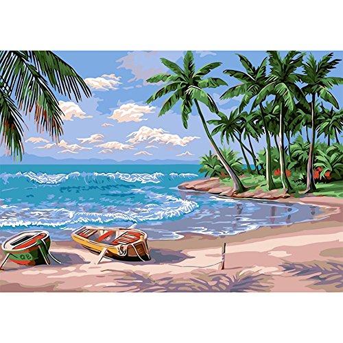 5D Round Diamond Painting, Awakingdemi Coconut Palm Tree Cro