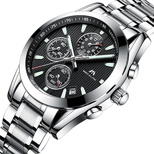 Mens Chronograph Stainless Steel Watches Gents Sports Waterproof Luxury Design Date Business Wrist Watch