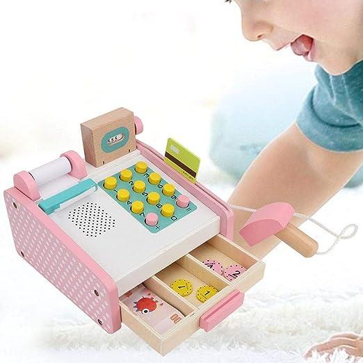 Juguete de Caja registradora, Kit de Caja registradora de simulación de Madera Modelo Educativo Regalo de Juguete para niños Niñas: Amazon.es: Hogar