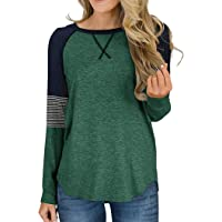 Akihoo Women's Color Block Round Neck Tunic Tops Casual Long Sleeve Shirt Blouse