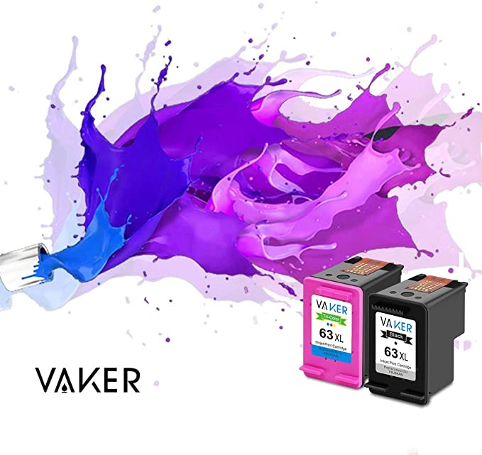 VAKER Remanufactured Ink Cartridge Replacement for HP 63XL 63 XL Compatible with HP Envy 4520 4516 HP Officejet 5220 5255 5258 4650 3830 3833 HP ...