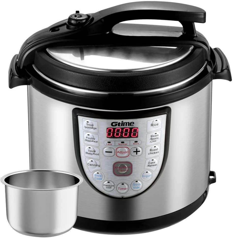 Electric Pressure Cooker 8 Qt Slow Cook Programmable 18 Kinds of Cooking Option with Stainless Steel Inner Pot,Sous Vide,Rice Cooker,Egg Cooker,Hot Pot,Baking,Cake,Steamer,Yogurt,Scouring Pad,24-Hour Delay Timer and Keep Warm