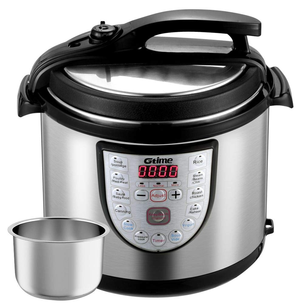 Gtime Electric Pressure Cooker, 8 Qt 18-in-1 Programmable Multi-Cooker, Slow Cooker, Rice Cooker, Sous Vide with Stainless Steel Inner Pot, Includes Glass Lid, Steaming Rack, Scouring Pad Gtime Cooker Gt-80JT3