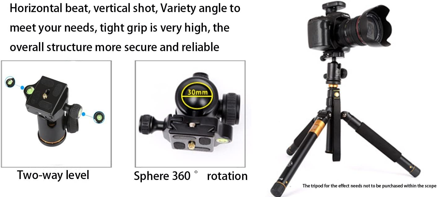 Micro-Reverse and Camcorder EXMAX Panoramic Aluminum Alloy Metal Heavy Duty 360 /° Rotating Ball Head with 1//4 inch Quick Shoe Plate and Bubble Level,up to 22.04 pounds//10 kilograms,for DSLR Camera