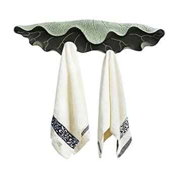 toallero Estante para toallas Decoración de resina Decoración de toalla Gancho de creatividad Hoja de loto colgante de pared (Color : Verde) : Amazon.es: ...