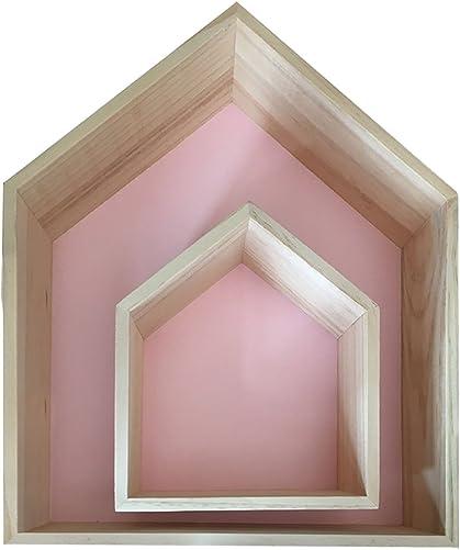 Da Jia 2PCS Wooden House-shaped Wall Storage Shelf Kid s Room Decoration Pink