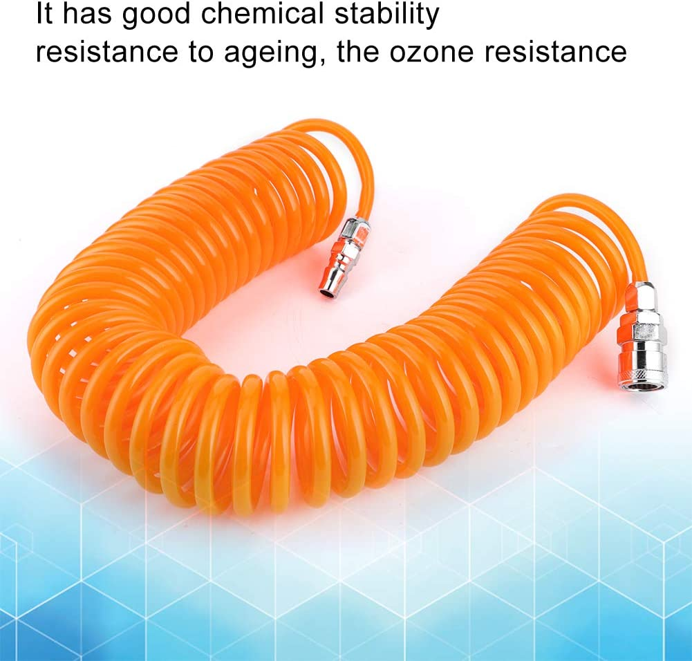 Inflatable Hose 9m//29.5ft PU Material Universal Orange Car Pneumatic Compressor Hose Spring Tube Tube Coiling Tool