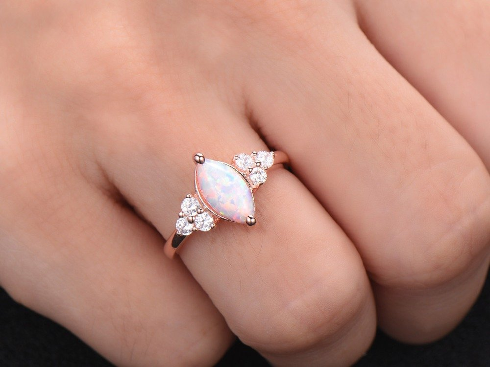 Opal Engagement Ring 925 Sterling Silver Rose Gold Plated CZ Cluster Antique Anniversary Gift Promise by Milejewel Opal Engagement Ring (Image #6)