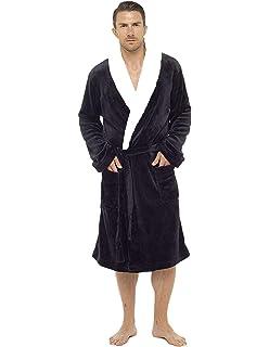 8349dcbb45 Mens Dressing Gown Luxury Super Soft Mens Fleece Robe with Hood Gowns  Bathrobe Warm…