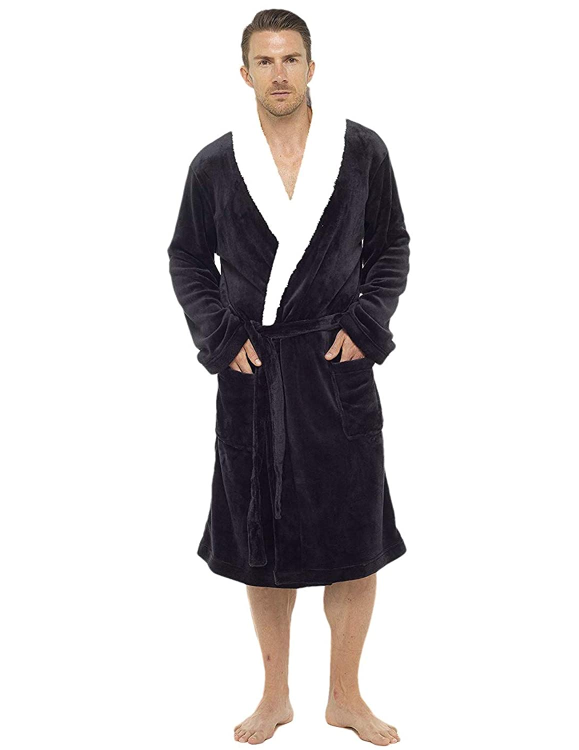 e47dc0dac6 Mens Dressing Gown Luxury Super Soft Mens Fleece Robe with Hood Gowns  Bathrobe Warm and Cozy...  Amazon.co.uk  Clothing