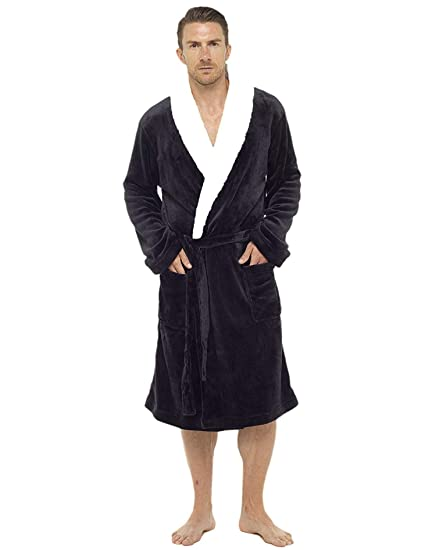 d94cd56db3 Mens Dressing Gown Luxury Super Soft Mens Fleece Robe with Hood Gowns  Bathrobe Warm and Cozy...  Amazon.co.uk  Clothing