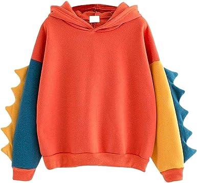 I613 Womens Casual Long Sleeve Hoodie Sweatshirts Fashion Rainbow Stripe Printed Pullover Leightweight Blouse Coat