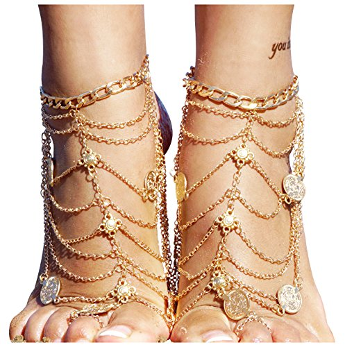 Tassel Barefoot Sandal Wedding Dancing Ankle Bracelet Boho Vintage with Coin, Gold