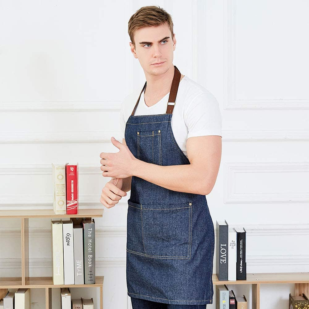 Meychin Blue Adjustable Denim Jean Kitchen Apron with 4 Pockets for Women Men Optimized Upgrade(Denim): Home & Kitchen