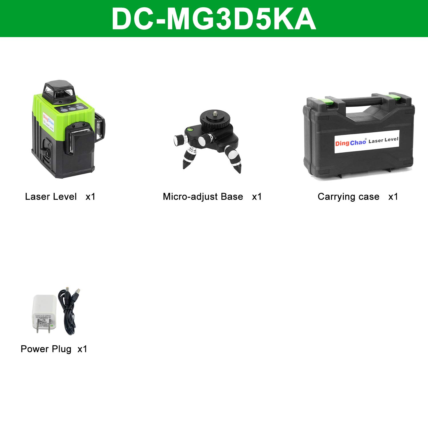 Dingchao Self-Leveling Three-Plane 3 x 360 Green Line Laser Level,with Micro-Adjust / 360 Degree Pivoting Base, Hard Carrying Case,Power Plug Adapter,Multi-functional Laser Leveler Layout Laser Tools by DINGCHAO (Image #7)
