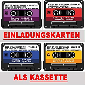 Cassette Tape Cassette 4 Colours To Choose From Birthday Party