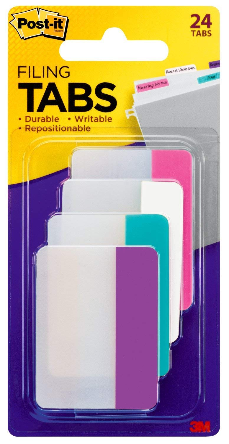 Post-it Filing Tabs, 2 x 1.5, Solid Assorted Colors, Pack of 6