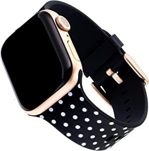 WITHit Dabney Lee Silicone Replacement Band for Apple Watch, 38/40mm, Dottie – Secure, Adjustable Stainless-Steel Buckle Closure, Apple Watch Band Replacement, Fits Most Wrists