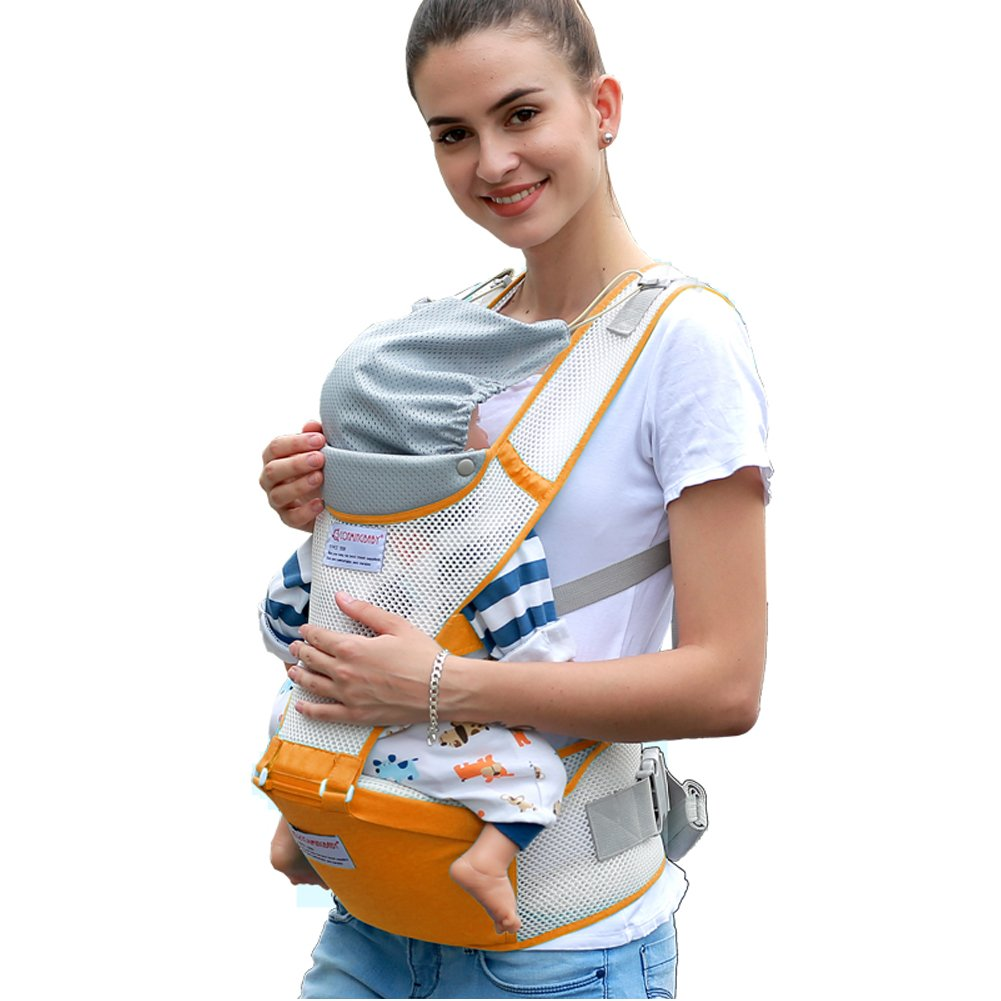 Baby Carrier, URVOGUE Baby Hip Seat Carrier Totally Breathable Baby Carrier Backpack with 8 Carry Ways with Detachable Seat and Windproof Head Support Hat for Baby (sky blue)
