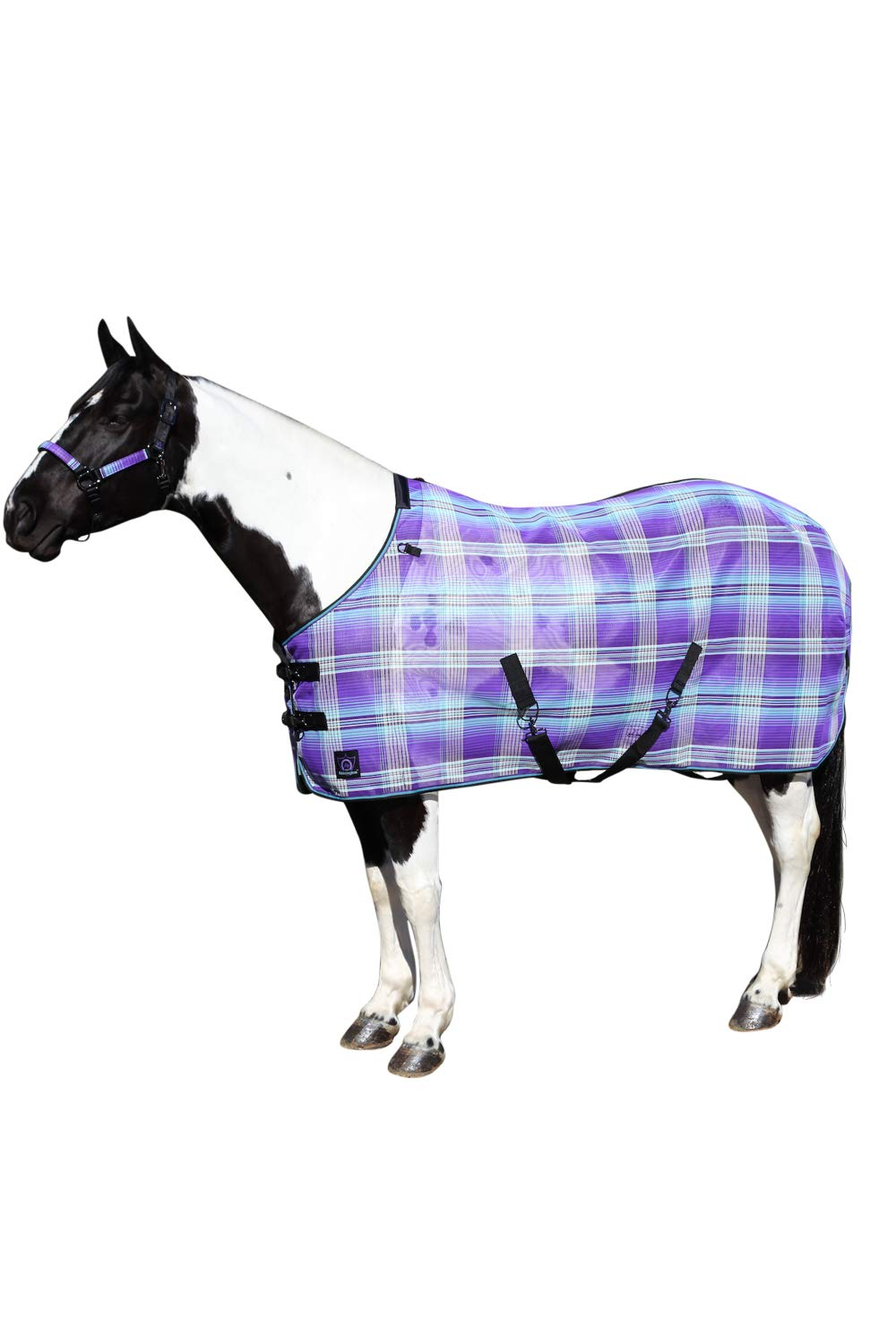 Kensington Platinum SureFit Protective Fly Sheet for Horses - SureFit Cut with Snap Front Chest Closure - Made of Grooming Mesh This Sheet Offers Maximum Protection Year Round - 75'' Lavender Mint by Kensington Protective Products (Image #1)