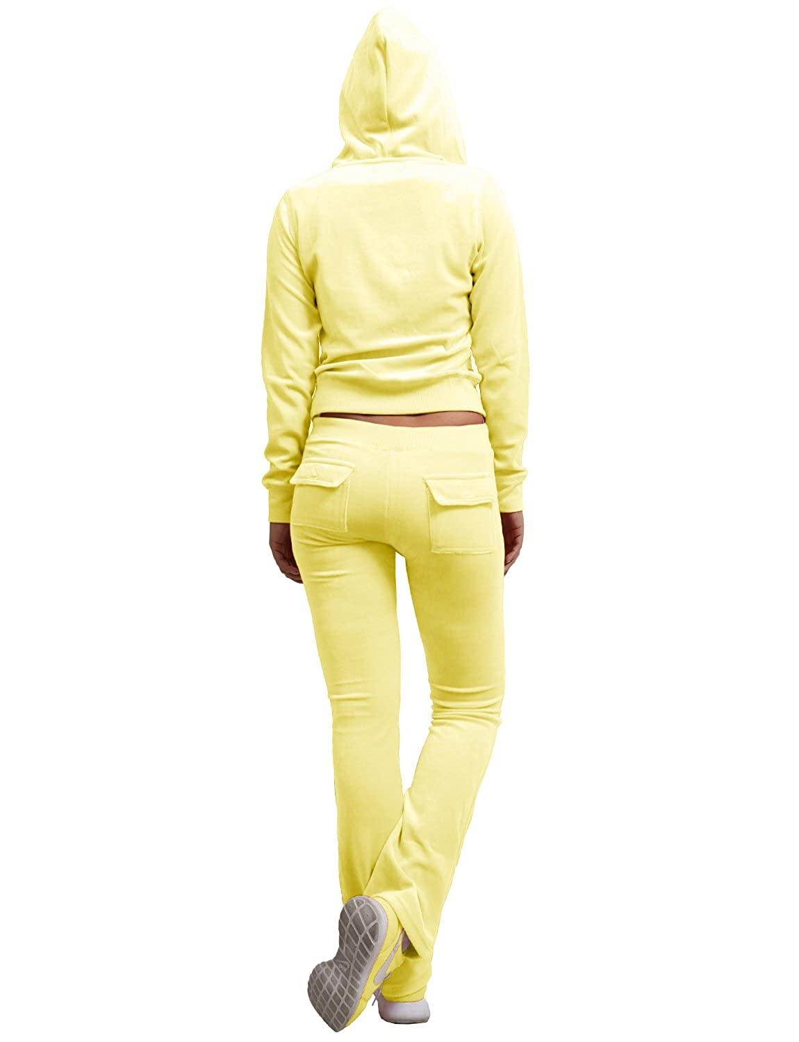 J LOVNY Womens Active Casaul Velour Hoodie and Sweatpants Tracksuit Set