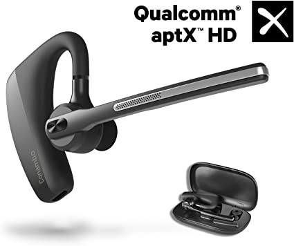 Amazon Com Bluetooth Headset 5 0 Aptx Hd 16 Hrs Talktime Bluetooth Earpiece Noise Cancelling Mute Key Wireless Earphones For Cell Phones Business Trucker Office Home Audio Theater