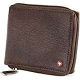 Alpine Swiss Zippered Bifold Men's Wallet with Deluxe Credit Card Flip Genuine Leather Antique Brown