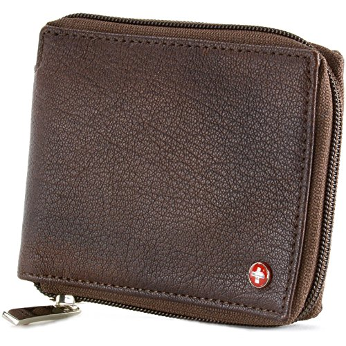 Zippered Wallet (Alpine Swiss Zippered Bifold Men's Wallet with Deluxe Credit Card Flip Genuine Leather Antique Brown)