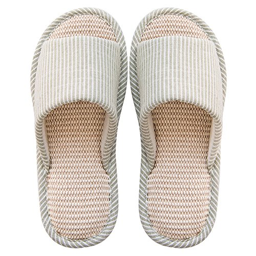 fankou Spring and Summer Couples Stay Cool with a Linen Slippers Female Lovely Wooden Floor Indoor Slippers Male Thick, Non-Slip,38-39, Green (C)