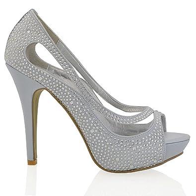 e665d69bc29 ESSEX GLAM Womens Platform High Heel Peep Toe Satin Diamante Bridal Prom  Shoes