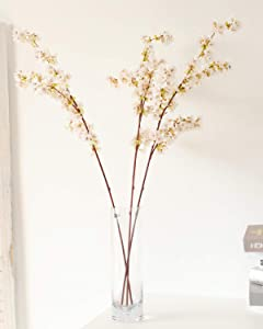 WenXin 39 Inch Cherry Blossom Flowers Artificial,3pcs Branches Flowers Stems Silk Tall Fake Flower Arrangements for Home Wedding Decoration (3pcs Ivory)