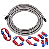 EVIL ENERGY 16Ft 8AN Stainless Steel Braided Teflon PTFE E85 Fuel Line + 8AN Teflon Hose End Fitting Kit