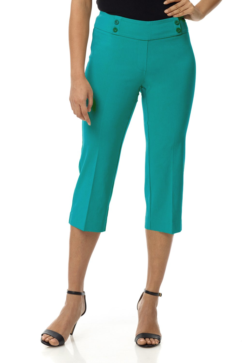 Rekucci Women's Ease in to Comfort Fit Capri with Button Detail (16,Jade)