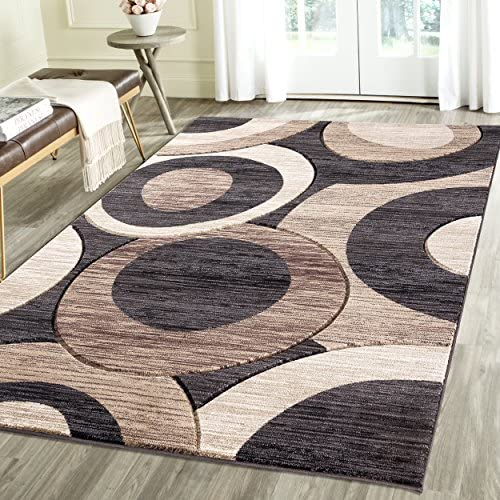 Contemporary Circles Geometric Emerald Collection Carved Area Rug by Rug Deal Plus 7 11 x 10 4 , Charcoal Beige