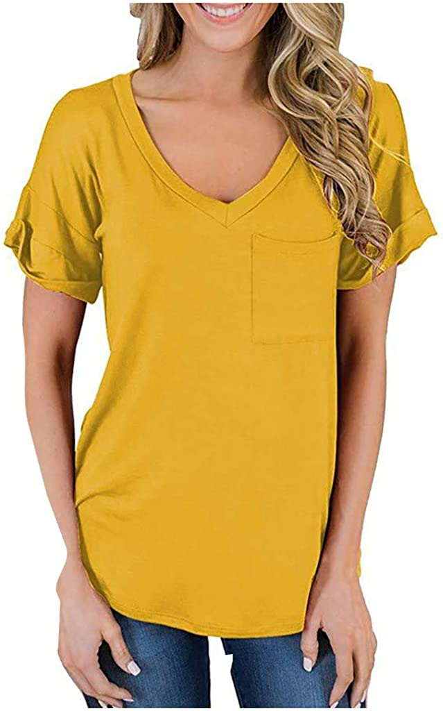 Mimfor Fashion Womens Casual V-Neck Pocket Ruffled Loose Solid Color Blouse T-Shirts