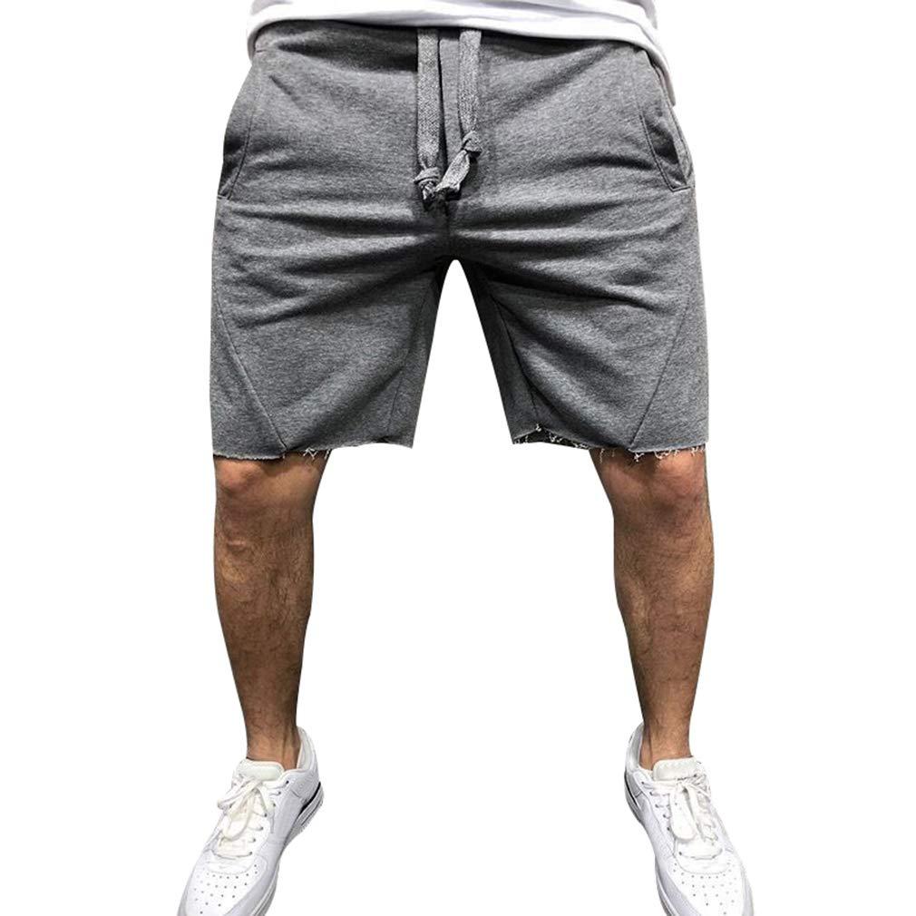 Hombre Pantalones Cortos De Algodón 3/4 Jogger Pantalones Cortos hasta La Rodilla Pantalones Cortos Color Sólido Jogging Cintura Elástica con Cordón Pantalones Cortos De Verano