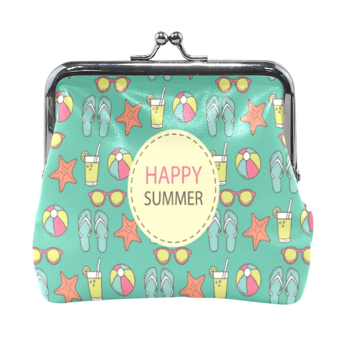 Womens Leather Kiss Lock Double-Sided Happy Summer Coin Purse Wallets