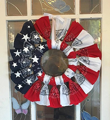 Red white and Blue patriotic bandana wreath. Flag. -