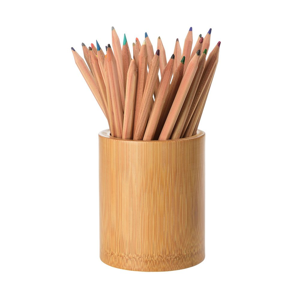 Chephon Natural Bamboo Wood Desk Pen Pencil Cup Holder Stand, Office Desk Accessories Supplies Organizer and Makeup Brush Holder