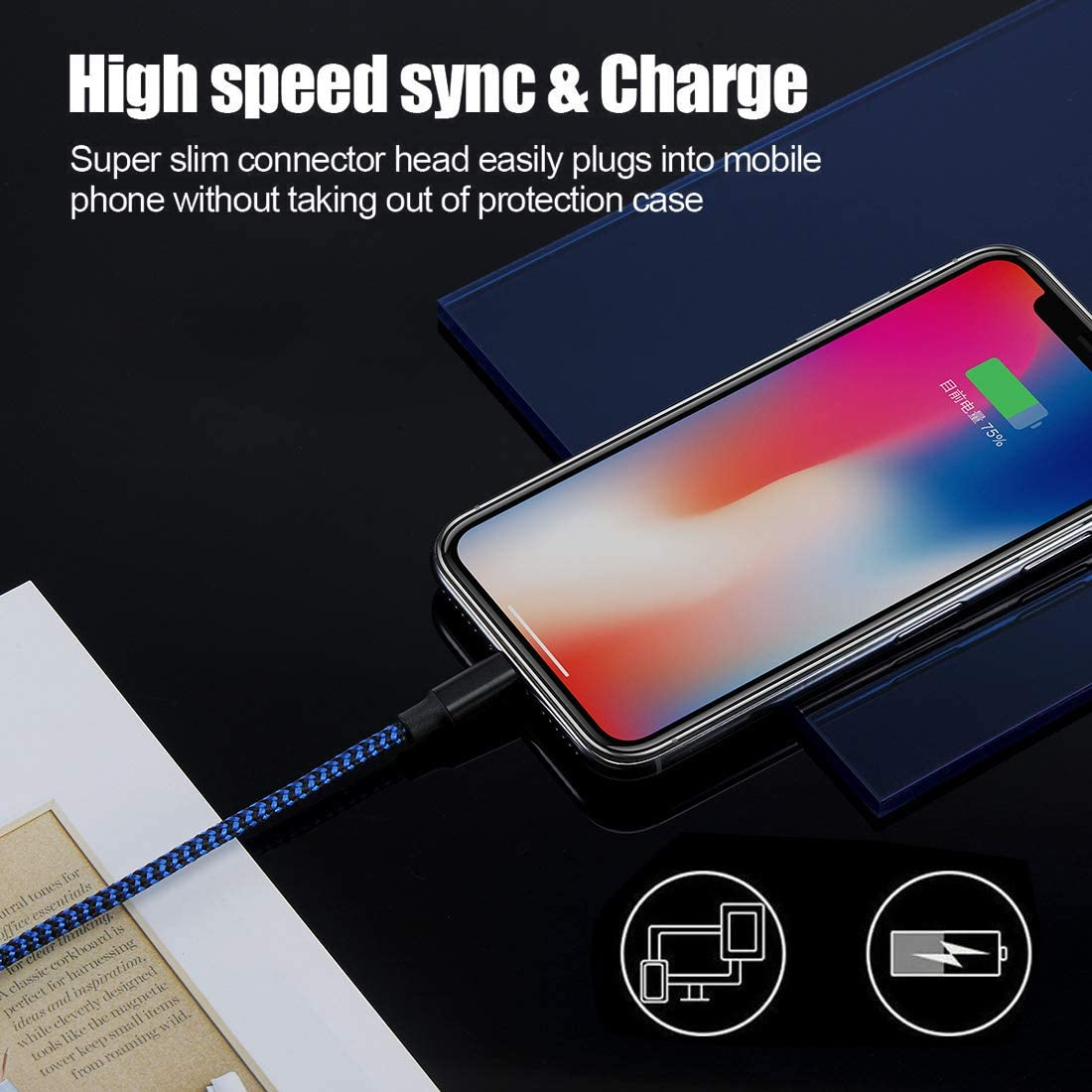 Black Blue iPhone Charger,Bowen MFi Certified Lightning Cable 3 Pack 10FT Extra Long Nylon Braided USB Charging /& Syncing Cord Compatible iPhone 11//11Pro//11Pro Max Xs//Max//XR//X//8//8 Plus//SE//iPad//Nan