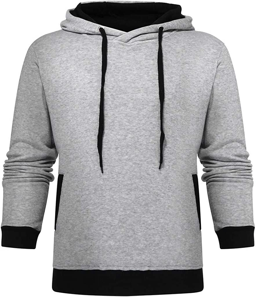 Solid Fleece Pullover Sweatshirt Active Hoodie Slim Fit LIUguoo Winter Turtleneck Hooded Sweatshirt for Men