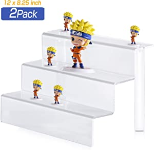 Crostice Acrylic Display Stand 3-Tier Clear Riser Display Shelf for Amiibo Funko POP Figures Cupcakes and Dessert, Desktop Organizer for Cosmetic Items and Craft Show (12 x 8.25 inch, 2 Pack)
