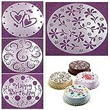 Ainest 4pcs Balloon Flower Heart Cake Mould Sugarcraft Fondant Cutter Round Decoration