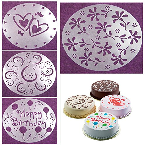 Birthday Cake Soup Mold Cupcake Birthday Cake Mold 4 PCS 4 Styles Flower Heart Spray Stencils Birthday Cake Mold Decorating Bakery Tools DIY Happy Birthday Cake Mold by Generic
