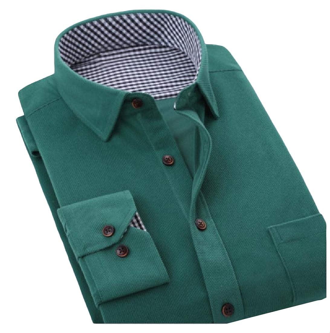 YUNY Men Tops Corduroy Button-Down-Shirts Business Dress Shirts Four XS