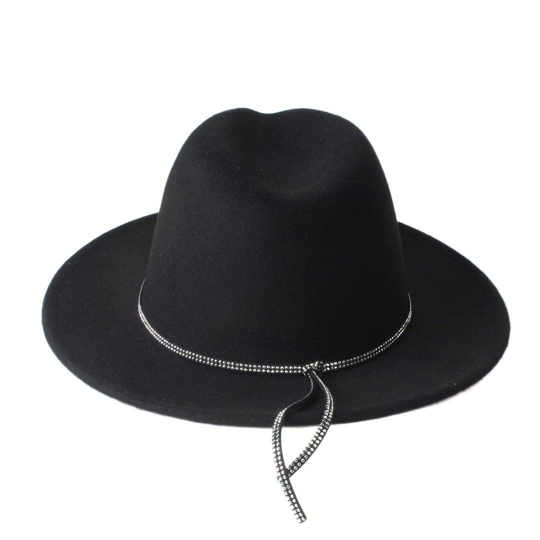 CP /& YR Fashion Wool Womens Mens Diamond Shining Band Chapeu Feminino Fedora Hat with Wide Brim Jazz Church Cap Panama Top Sun