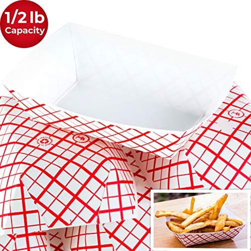 Heavy Duty, Grease Resistant Mini.5 Lb Paper Food Trays 200 Pack. Recyclable, Coated Paperboard Basket Ideal for Festival, Carnival and Concession Stand Treats Like Fries, Ice Cream and Onion Rings]()