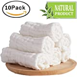 Baby Muslin Washcloths- Natural Muslin Cotton Baby Wipes - Soft Newborn Baby Face Towel for Sensitive Skin- Baby Registry as Shower Gift, 10 Pack 10x10 inches By MUKIN (White)